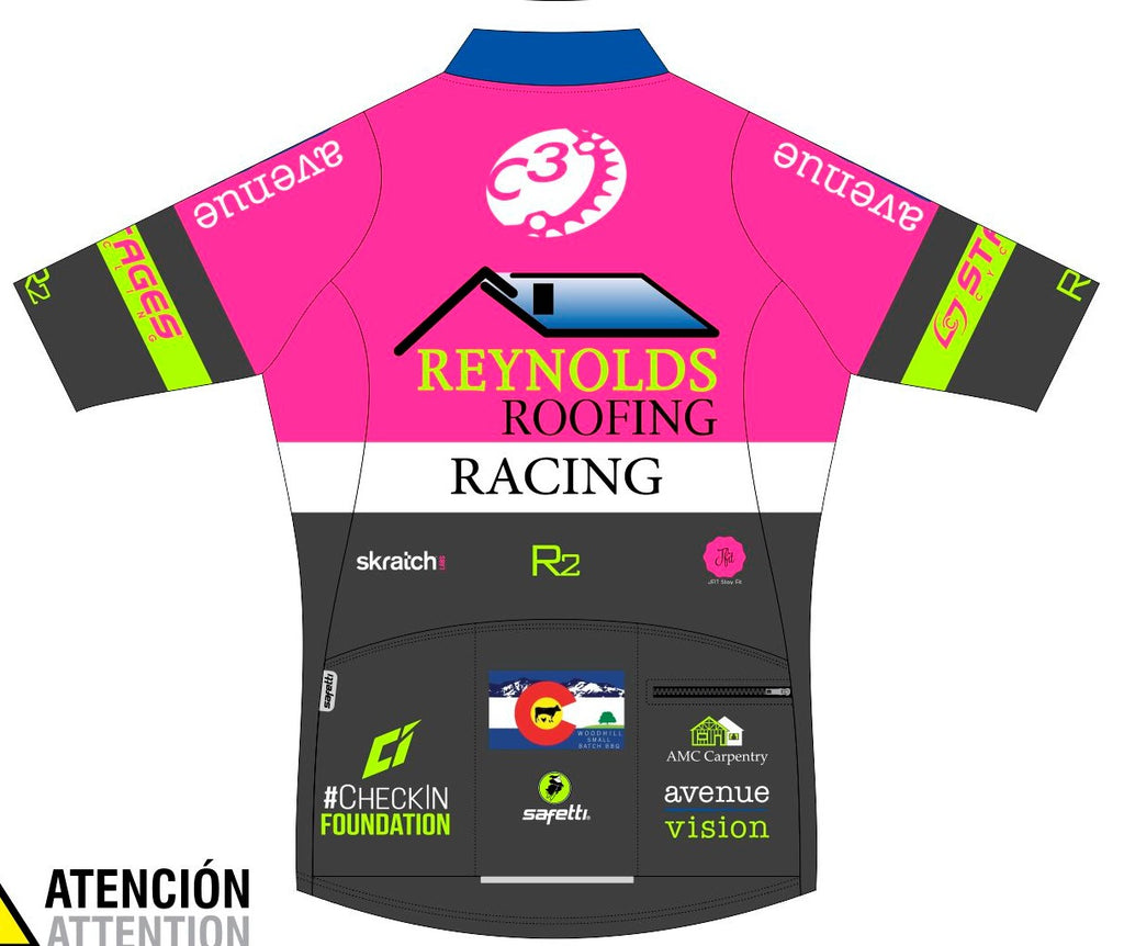 Reynolds Roofing - Pink Lombardia Short Sleeve Cycling Jersey. Women