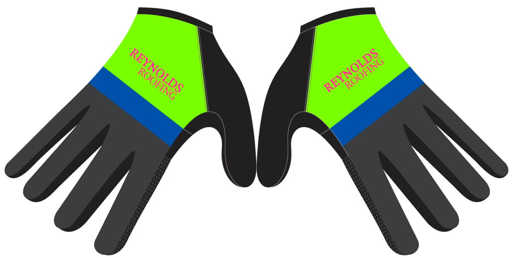 Reynolds Roofing - Green Printed Cycling Long Finger Gloves. Unisex