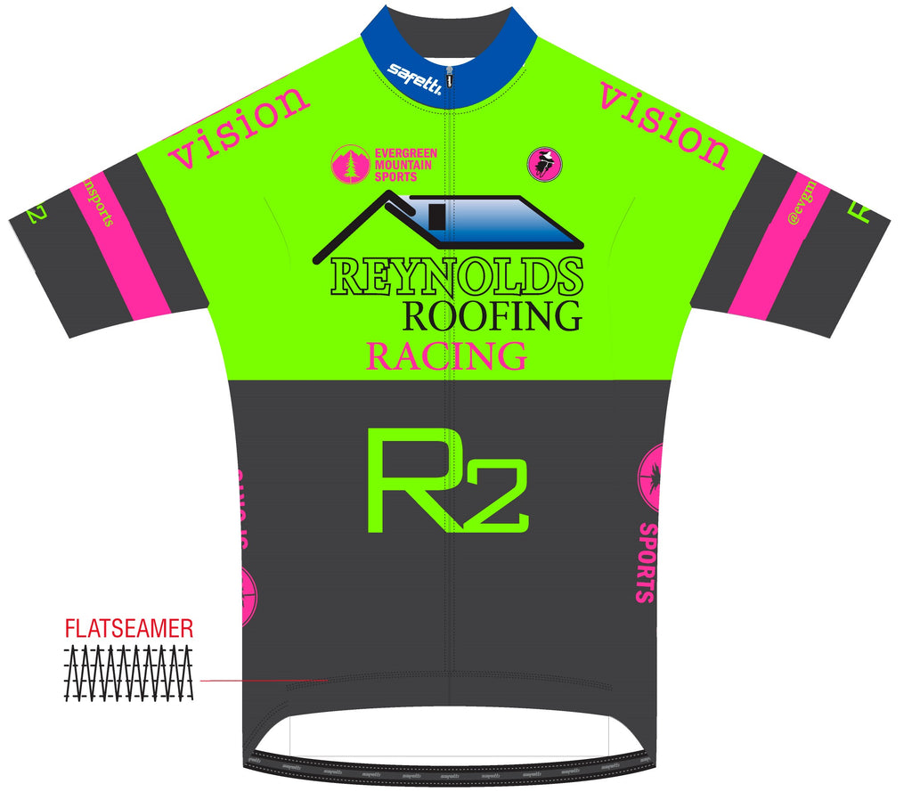 Reynolds Roofing - Firenze Short Sleeve Cycling Jersey Green. Women
