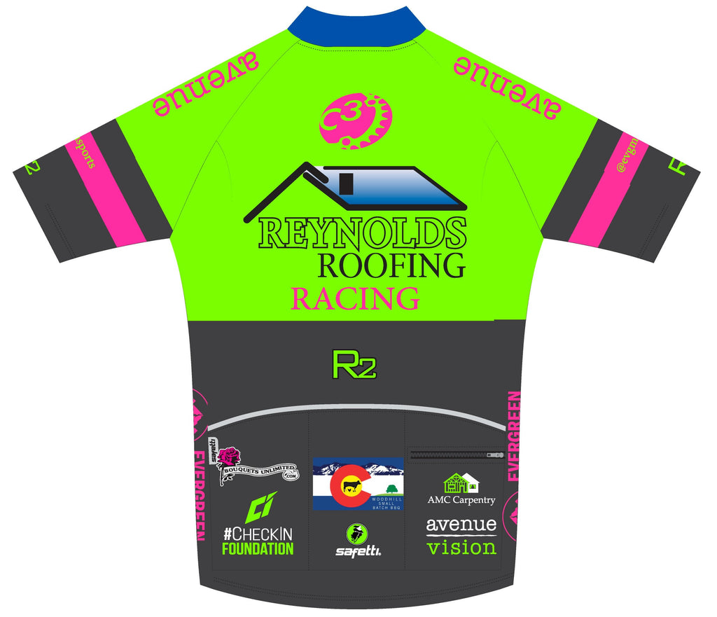 Reynolds Roofing - Firenze Short Sleeve Cycling Jersey Green. Men