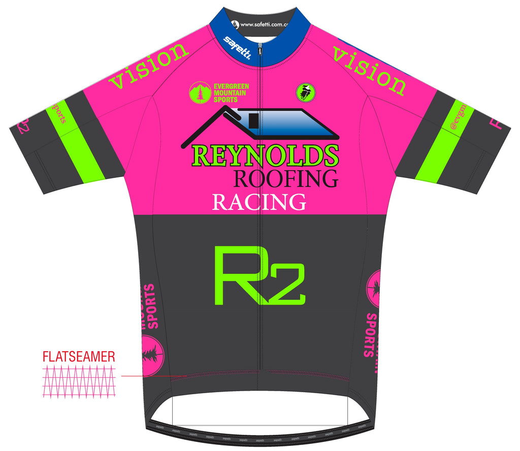 Reynolds Roofing - Firenze Short Sleeve Cycling Jersey Pink 2020. Men