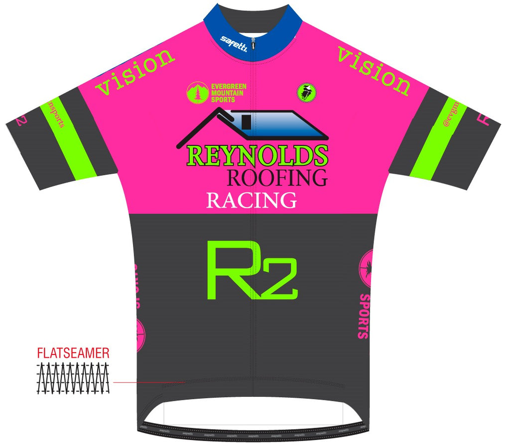 Reynolds Roofing - Firenze Short Sleeve Cycling Jersey Pink 2020. Women