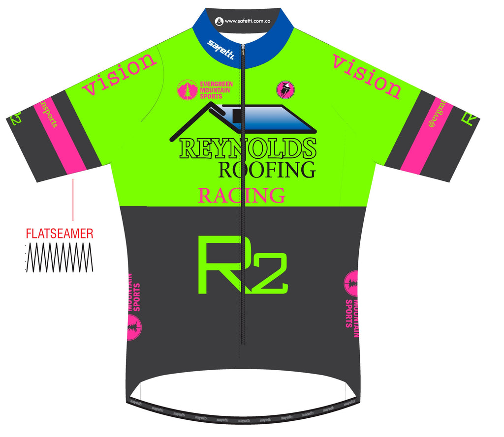Reynolds Roofing - Lombardia Short Sleeve Cycling Jersey Green. Men