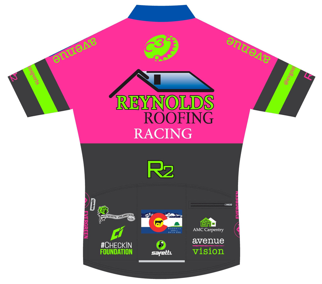 Reynolds Roofing - Lombardia Short Sleeve Cycling Jersey Pink 2020. Women