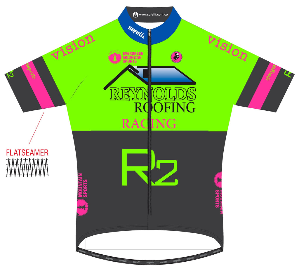 Reynolds Roofing - Lombardia Short Sleeve Cycling Jersey Green. Women