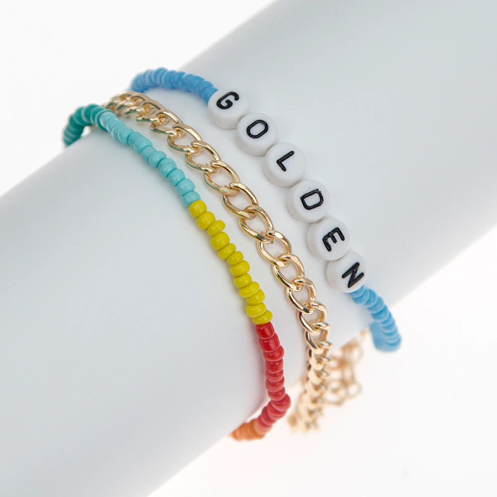 Colorful Beaded and Gold Bracelet