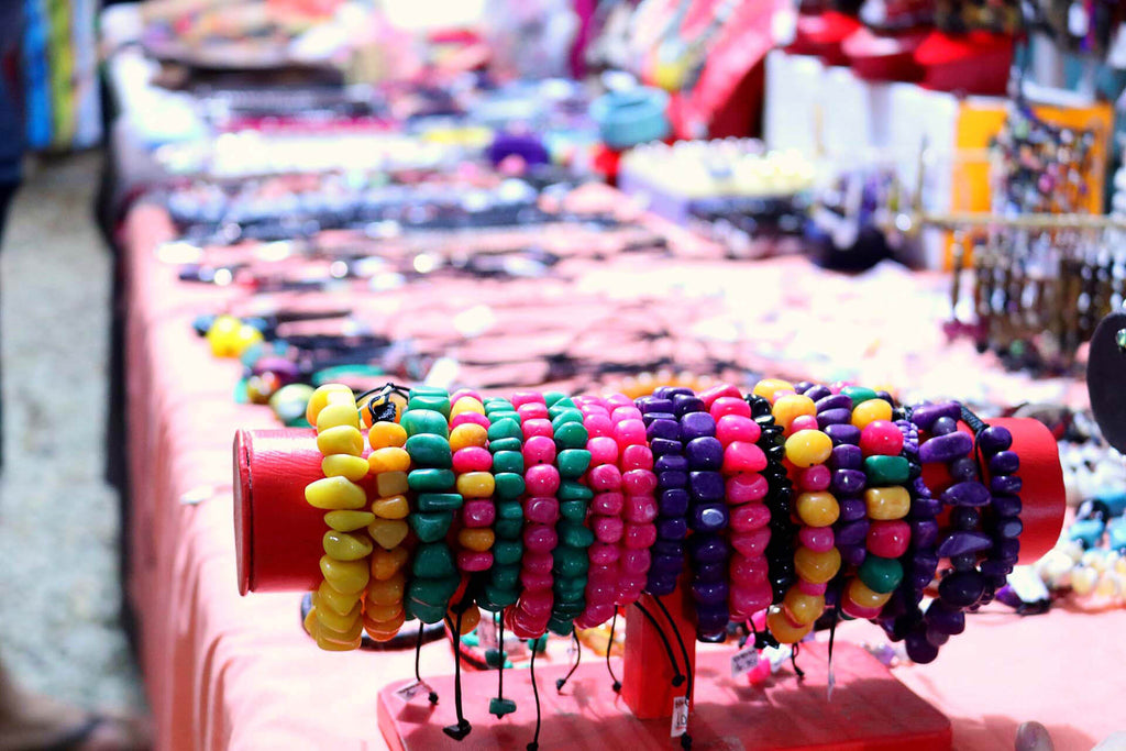 Colorful Beaded Jewelry on Streetmarket Table