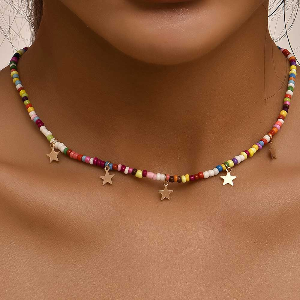 Woman wearing brightly colored necklace