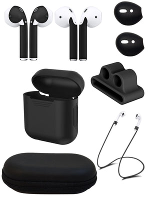 Ultimate Airpod Accessory Gift Pack - AirPod Skins, Case, Straps, Bander, Eartips and Hardshell Case