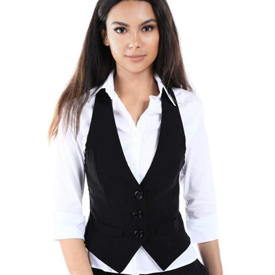 Salt Tree Women's Racer Back Button Front Imitation Front Pocket Vest-SaltTree