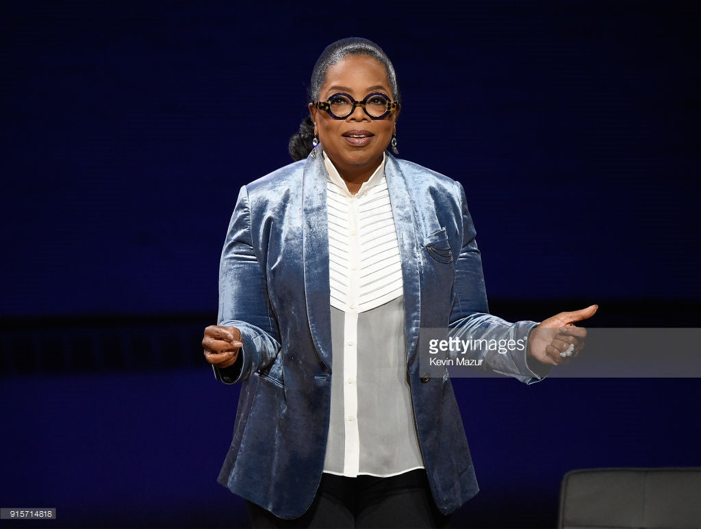 Oprah wears Larkspur & Hawk Sadie Round and Pear drop earrings in Ice and Dove