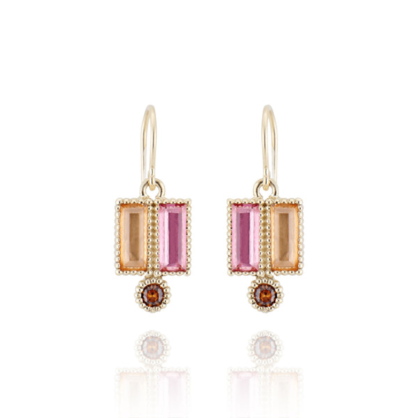 Cora Double Baguette Drop Earrings