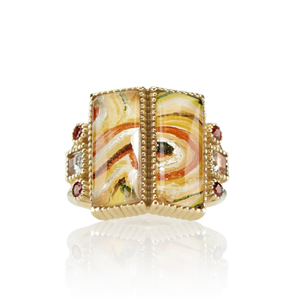 Cora Large Hand-Painted Double Baguette Ring