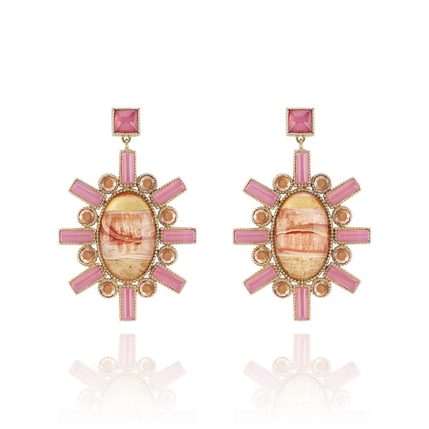 Painted / Pink Chalcedony / Bellini / Solid Yellow Gold
