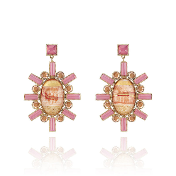 Cora Large Hand-Painted Chandelier Earrings
