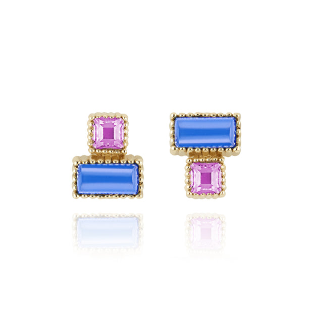 Blue Chalcedony / Magenta / Solid Yellow Gold