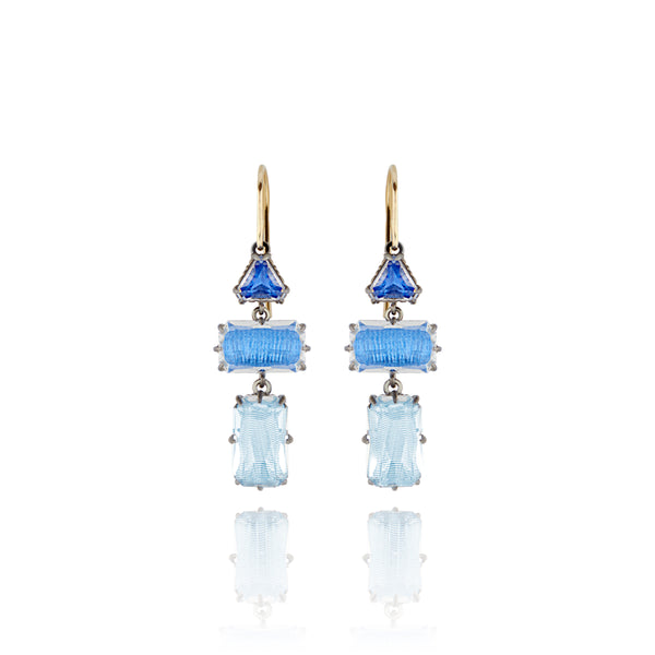Caterina Baguette 3-Drop Earrings