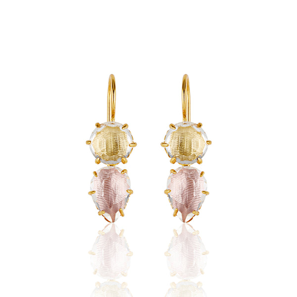 Larkspur & Hawk Caterina Round Pear Earrings, Fawn/Rose