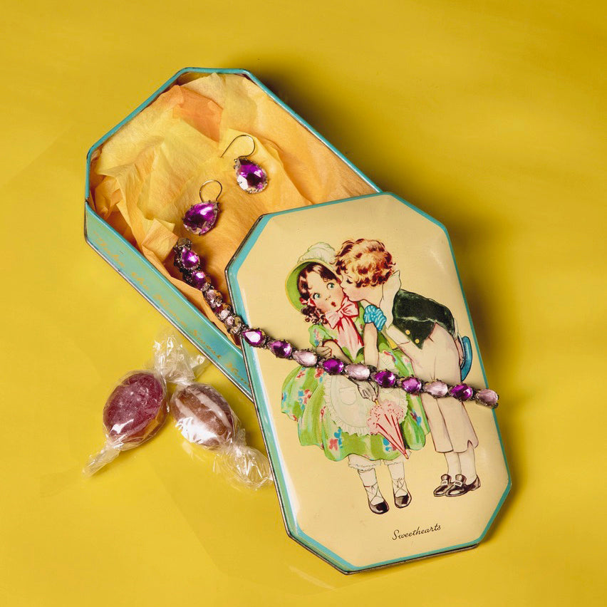 Caterina One-Drop Earring, Bracelet & Vintage Candy Tin Set