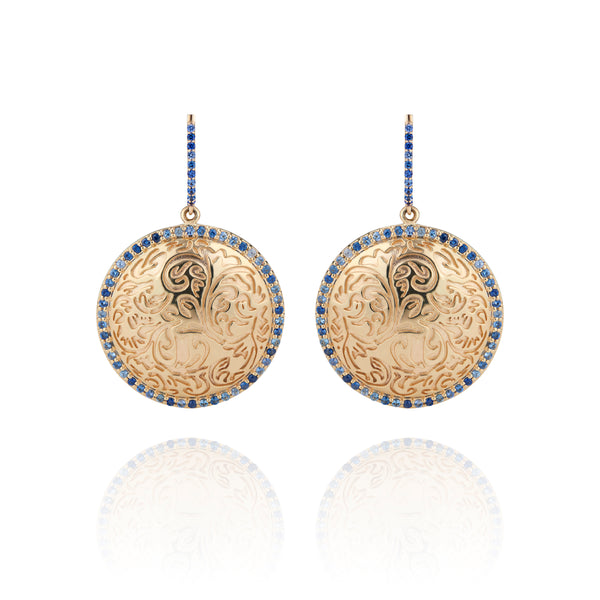 Arbor Medallion Pavé Hoop Earrings