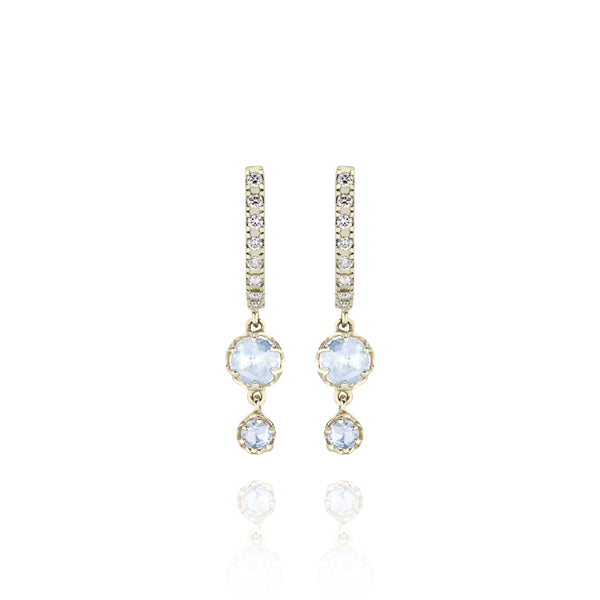 Ivy 2-Drop Pave Huggie Earrings