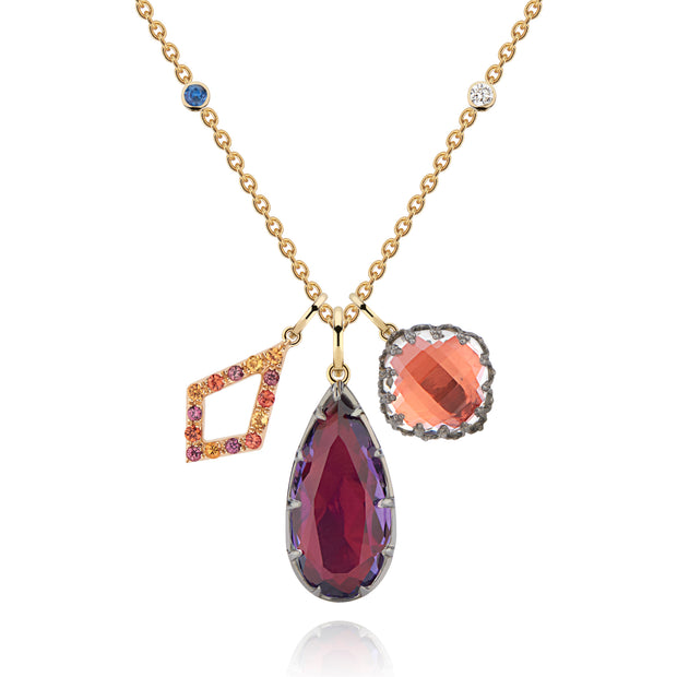 Fire/Scarlet/Clementine / 14k Yellow Gold/Black Rhodium Washed Sterling Silver / -