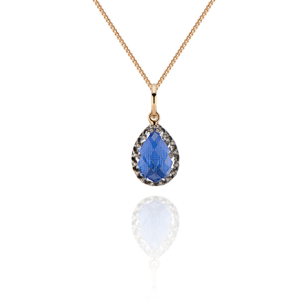 Cobalt / Black Rhodium Washed Sterling Silver and 14K Yellow Gold / -