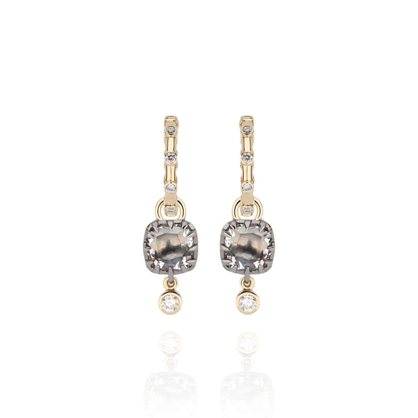 Ladies Diamond Open Hoops with Caprice Cushion Charms