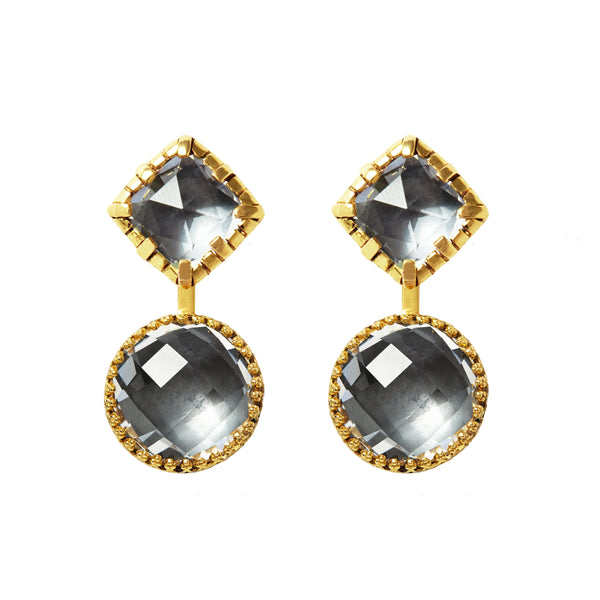 Sadie Front/Back Cushion Earrings With Round Drop