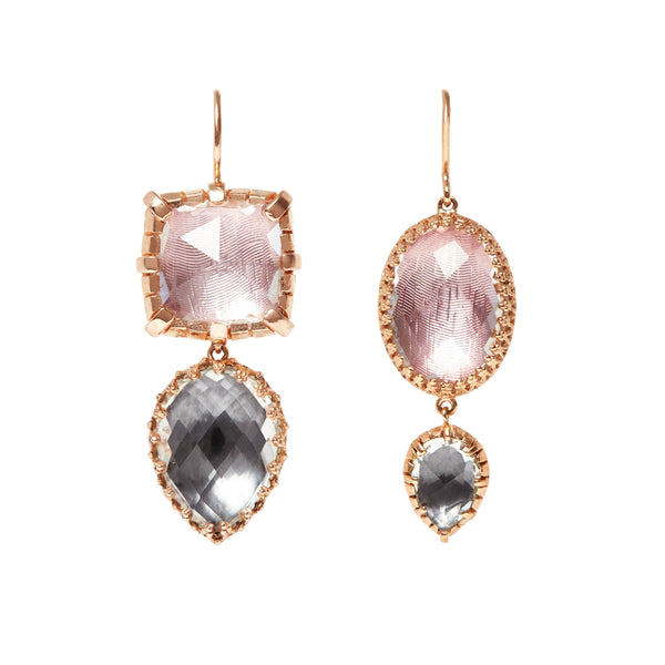 Sadie Cushion And Oval Pear Drop Earrings
