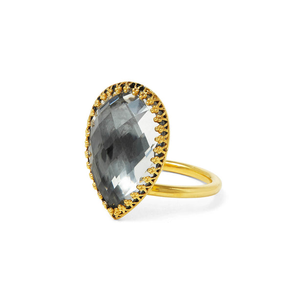 Grey / 18k Yellow Gold Washed Sterling Silver / -