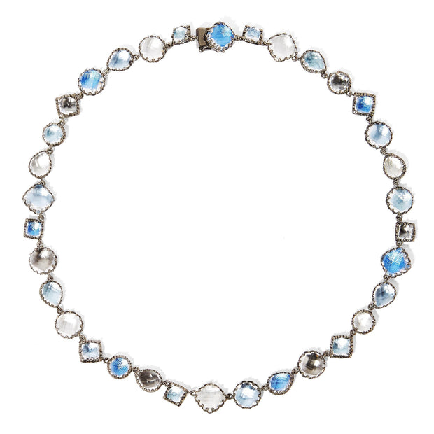 Multi-Blue / Black Rhodium Washed Sterling Silver / -