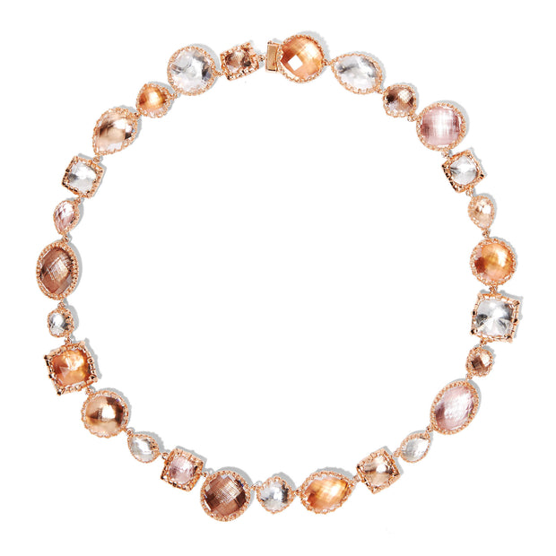 Multi-Peach / 18k Rose Gold Washed Sterling Silver / -