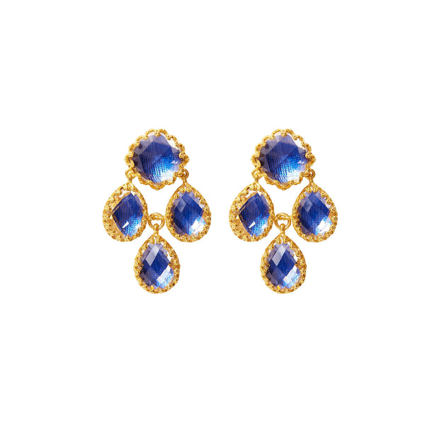 Cobalt / 18k Yellow Gold Washed Sterling Silver / -
