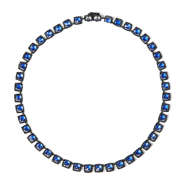 Cobalt / Black Rhodium Washed Sterling Silver / -