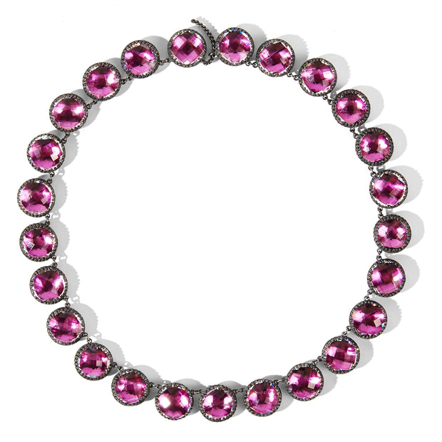Magenta / Black Rhodium Washed Sterling Silver / -