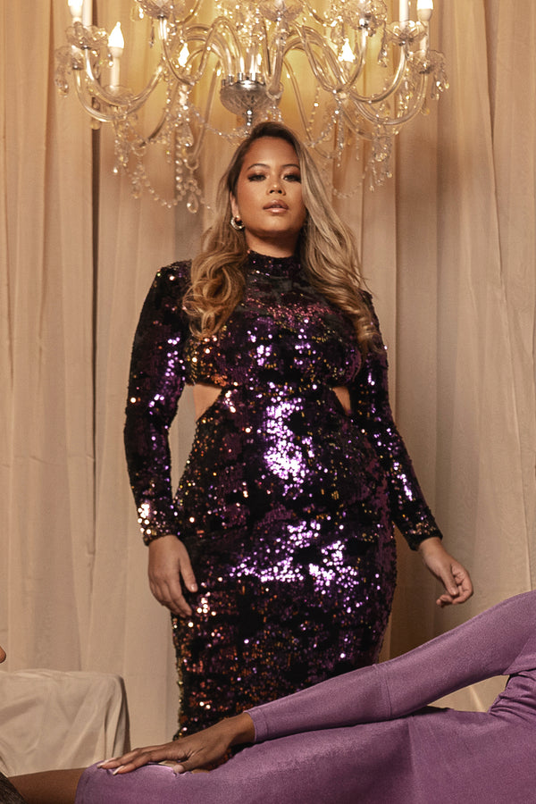 Purple Utopia Sequin Mid Cut Dress