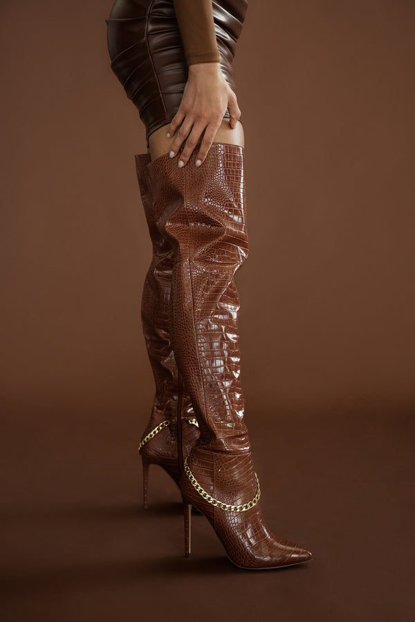 CHANNIE BROWN CROC THIGH HIGH BOOTS
