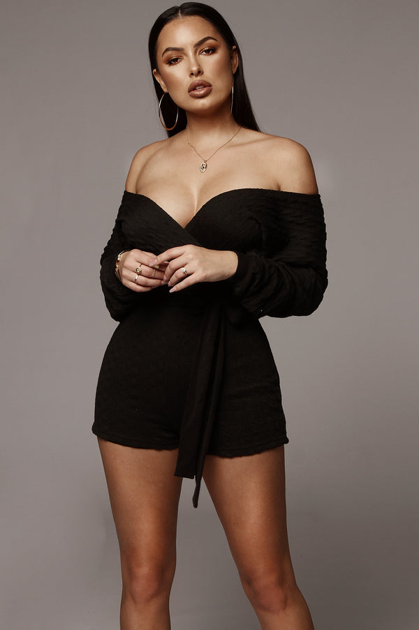 Black Cable Knit Romper