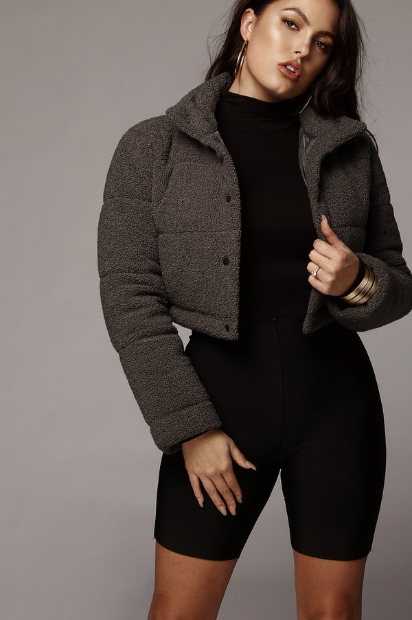 Charcoal Kalissa Cropped Puffer Jacket