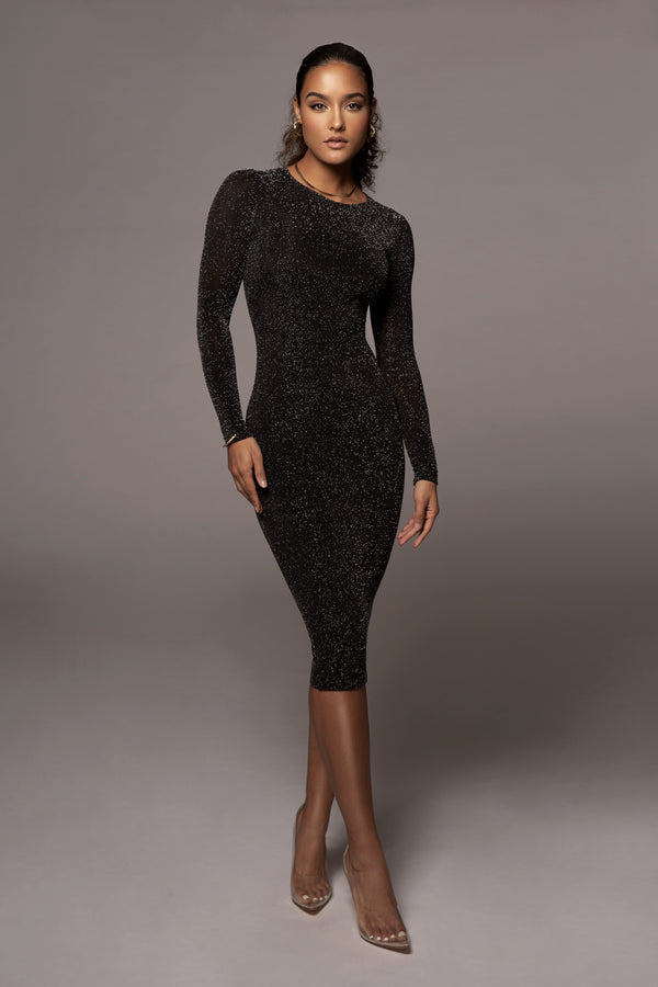Black Semi Sparkle Bodycon Dress