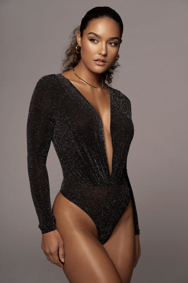BLACK DOMINIQUE DEEP V BODYSUIT