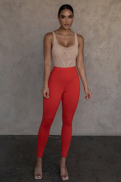 RED DARCY DOUBLE LAYER LEGGINGS