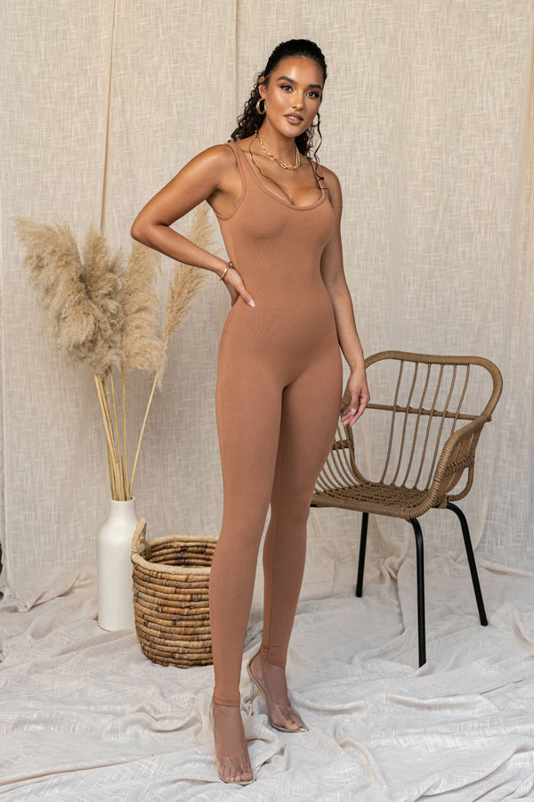 BODYBASIX PECAN DALLAS SOLID JUMPSUIT