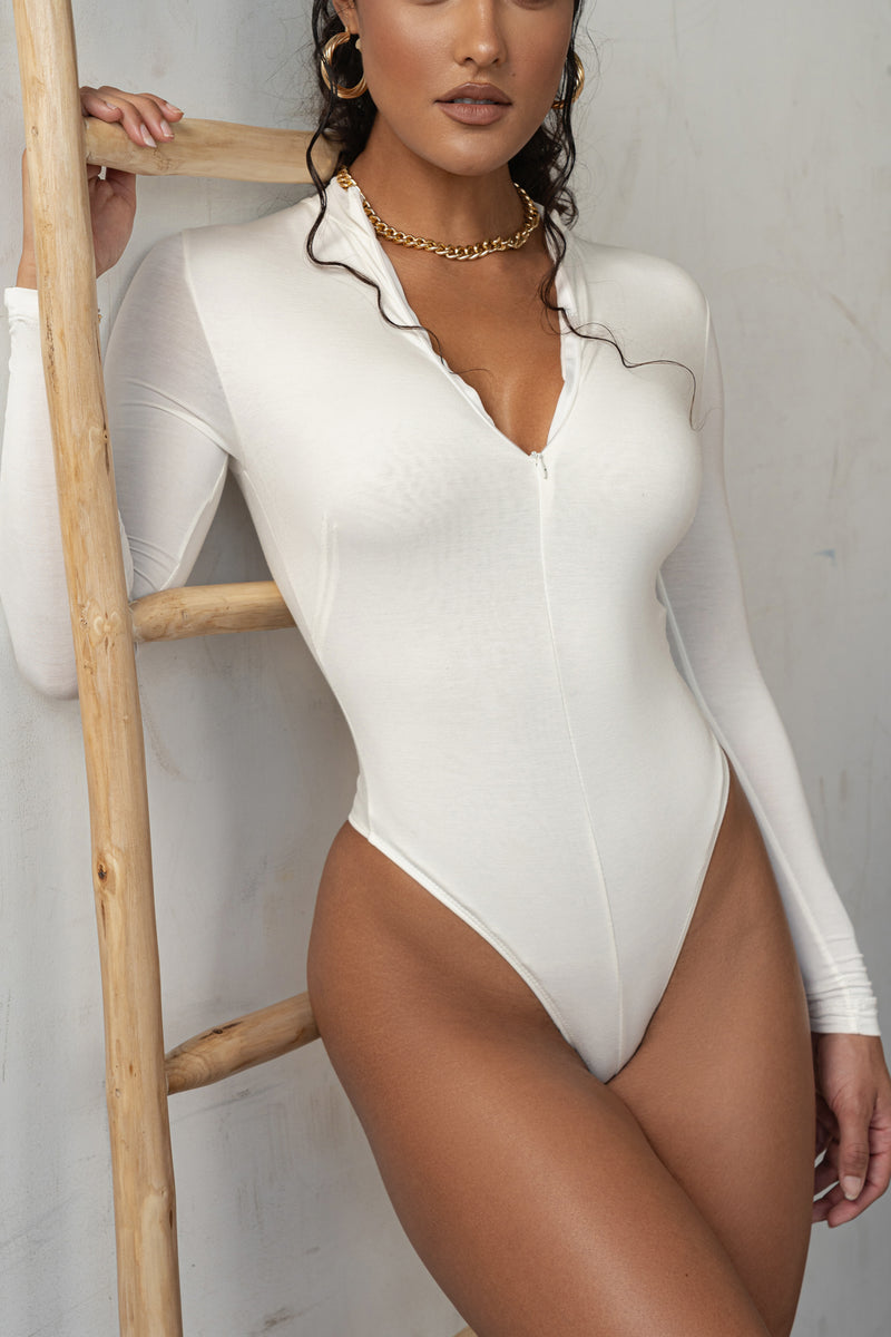 Ivory Zip Me Up Bodysuit
