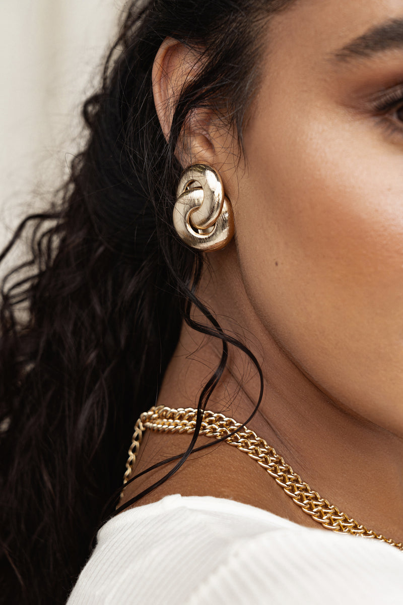 Gold Round Me Up Earrings