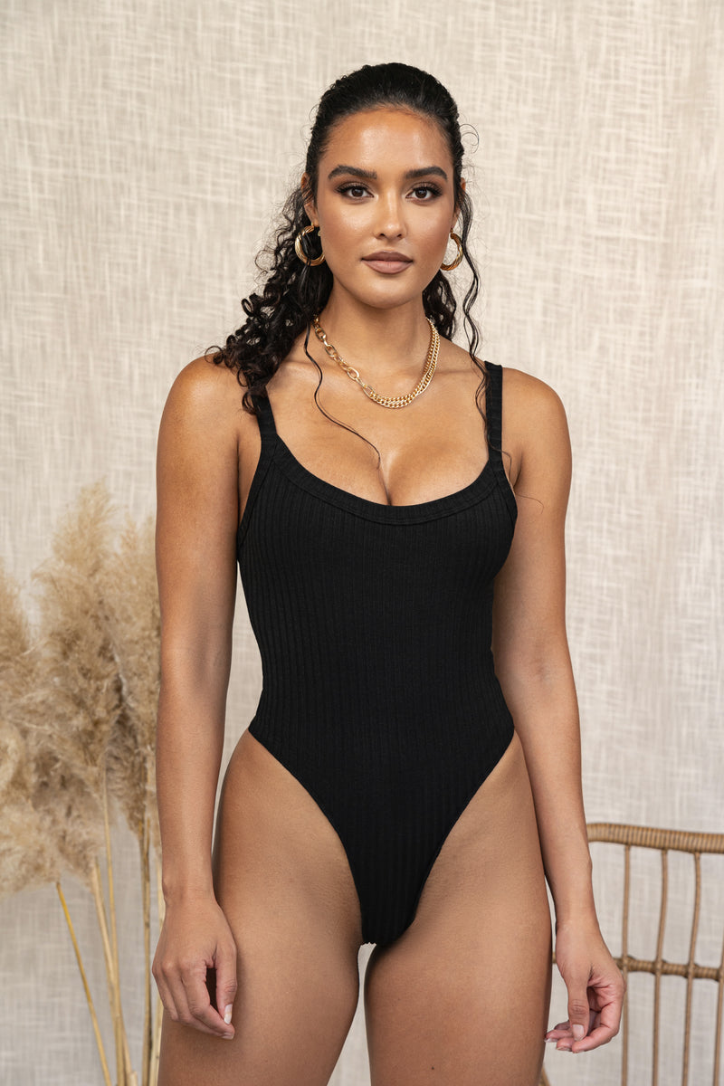 BLACK ROCKY RIBBED BODYSUIT
