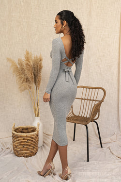GREY JODY DETAILED BACK RIBBED DRESS