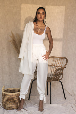 WHITE CAMILLE WOVEN PANTS