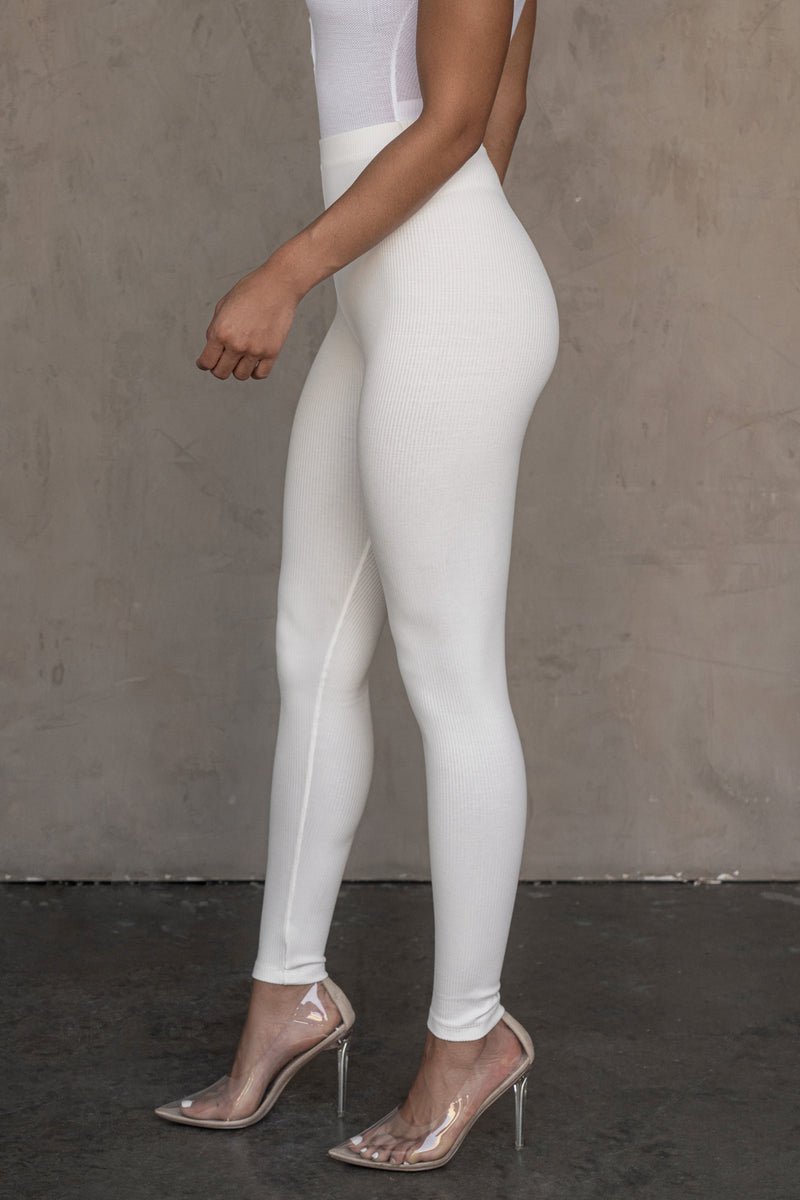 WHITE LYDIE RIBBED LEGGINGS